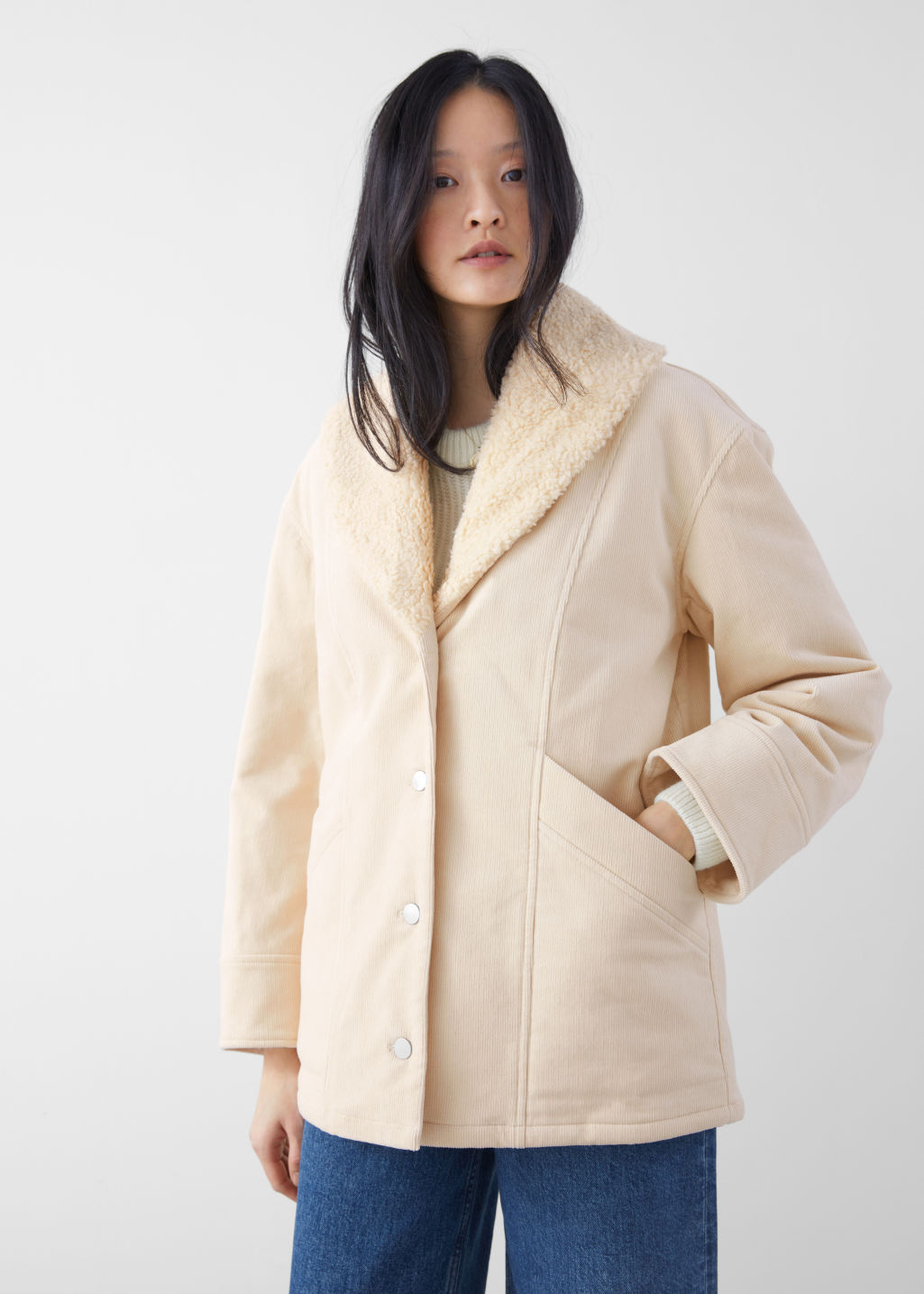 Model front image of Stories organic cotton blend shearling collar coat in beige