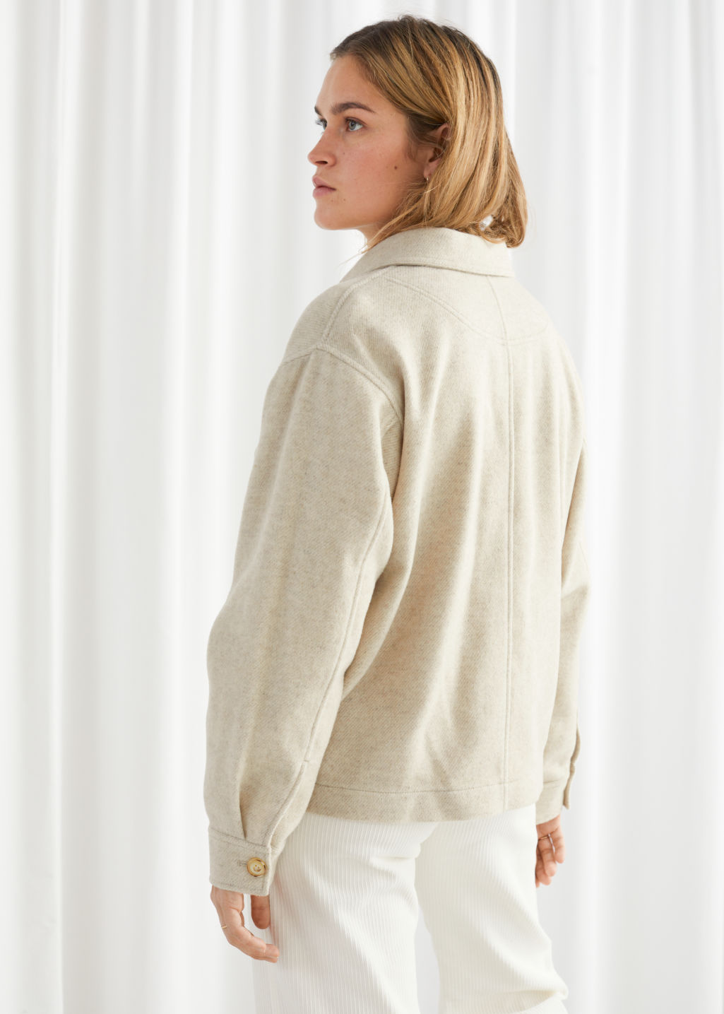 Model back image of Stories oversized wool blend workwear shirt in beige