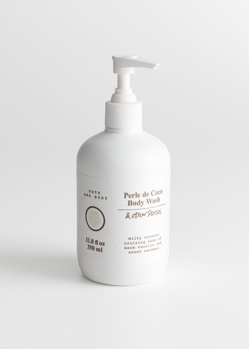 Front image of Stories body wash in white