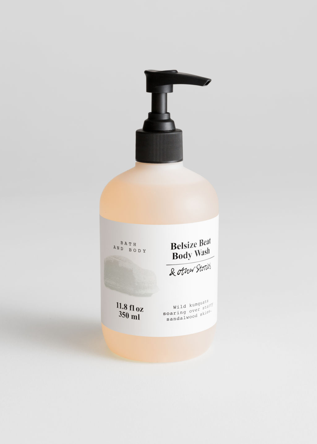 Front image of Stories body wash in beige