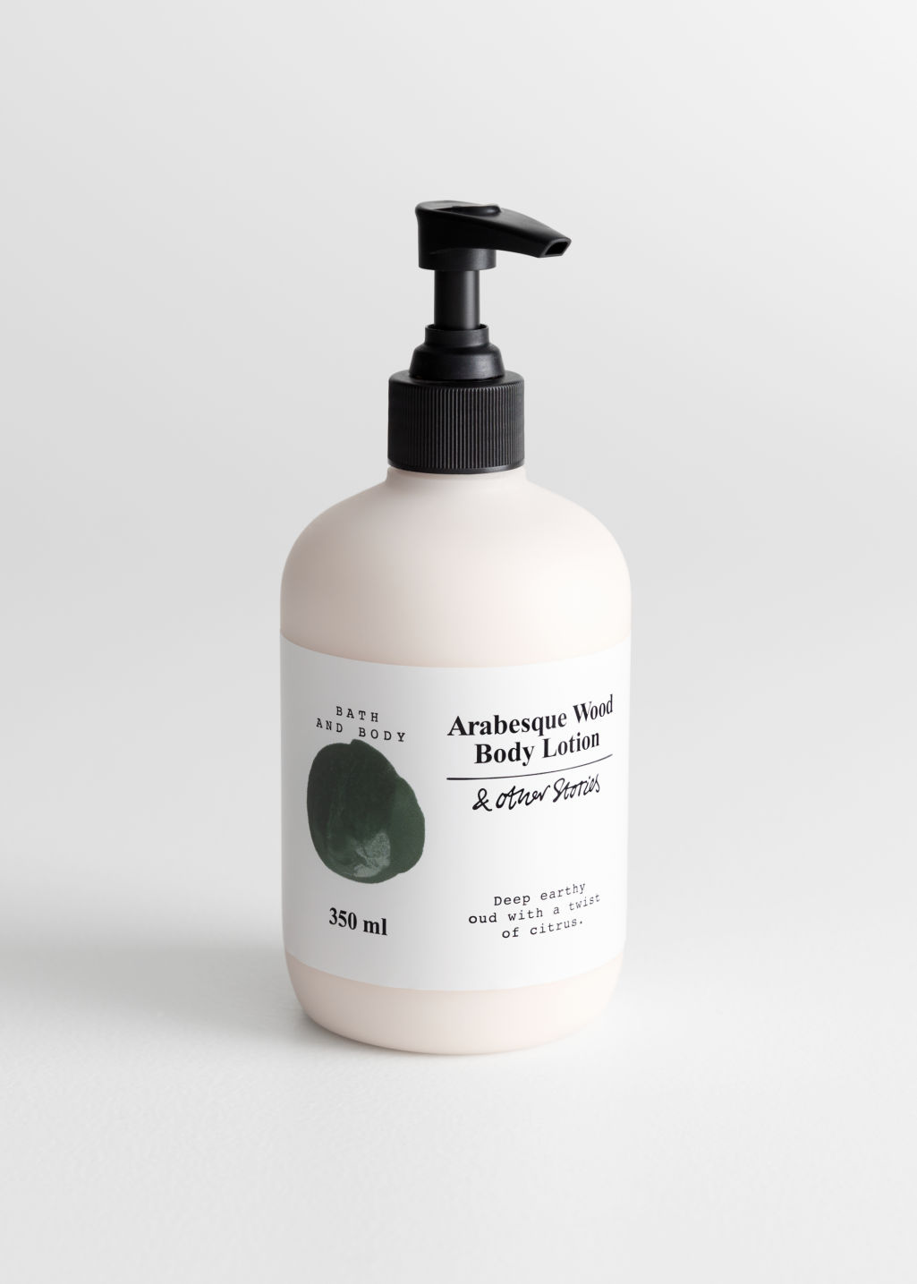 Front image of Stories body lotion in green
