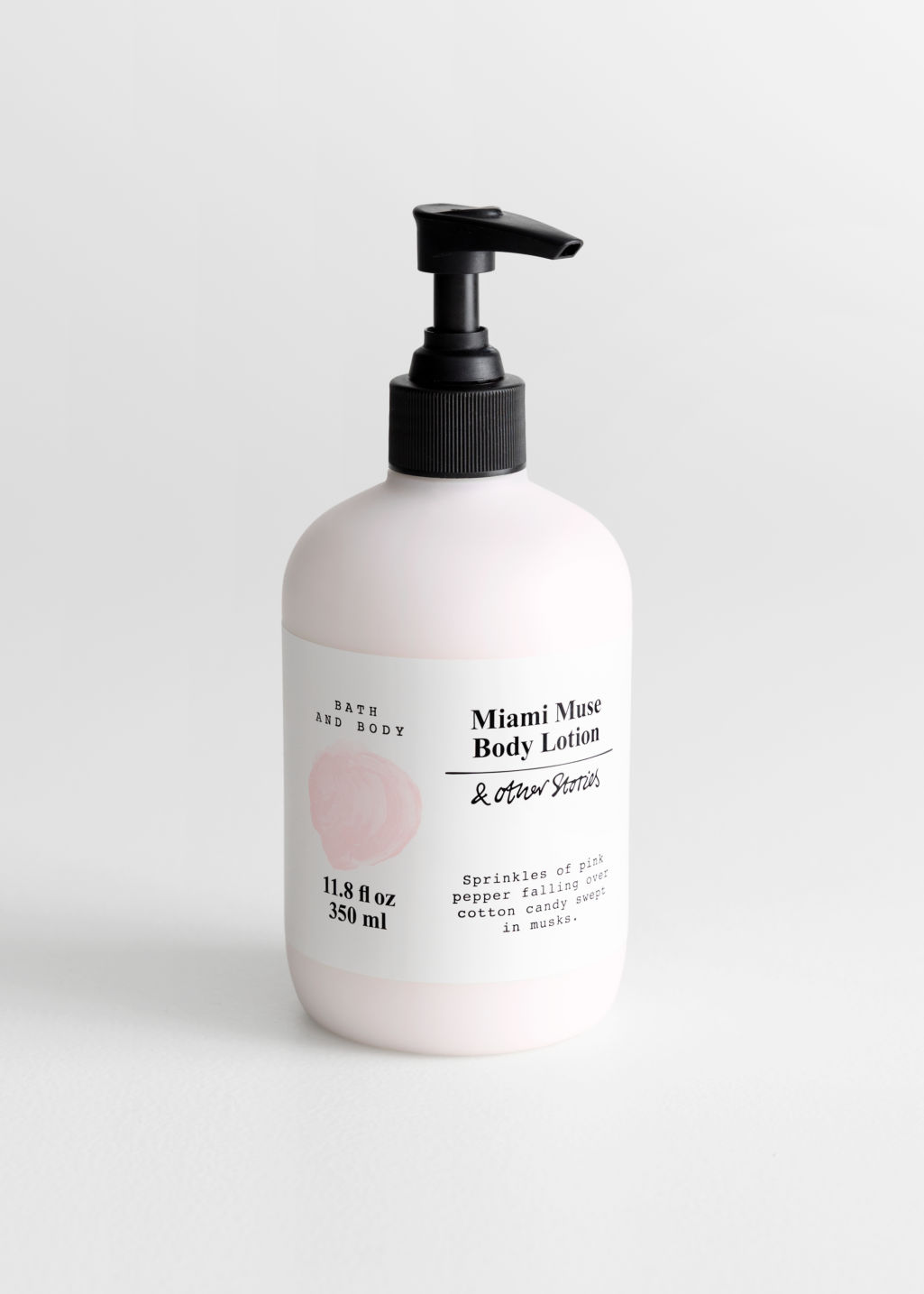 Front image of Stories body lotion in pink