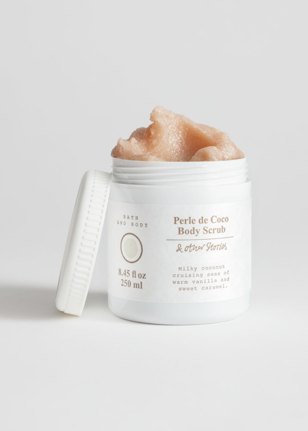 Front image of Stories body scrub in white