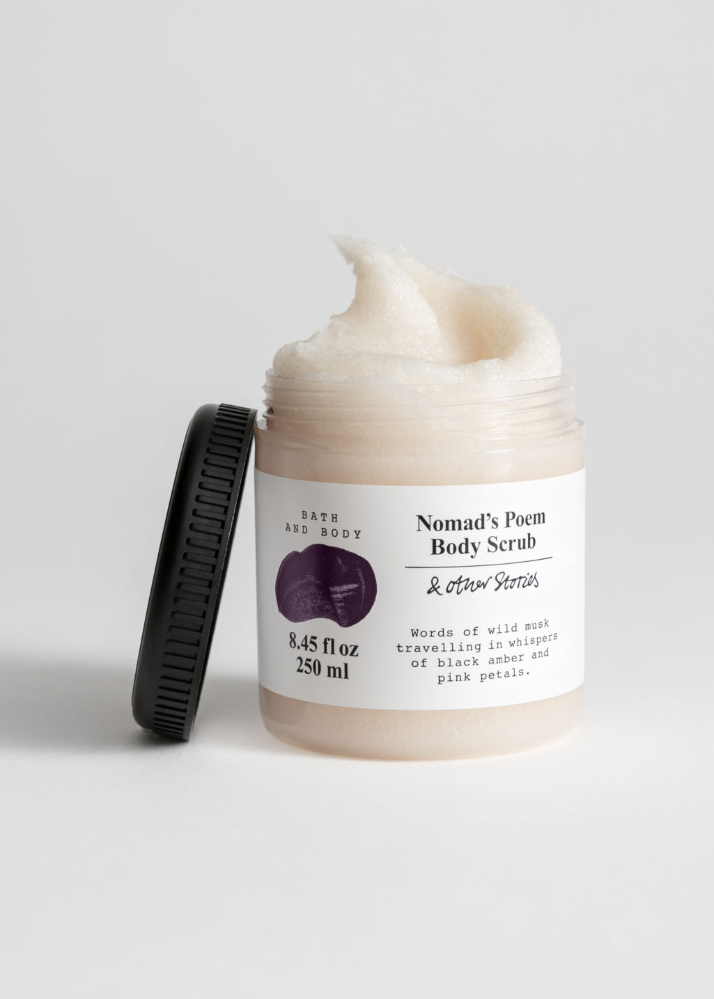 Front image of Stories body scrub in pink