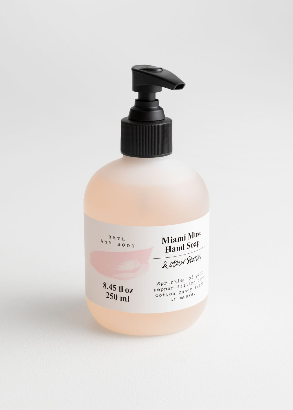 Front image of Stories hand soap in pink