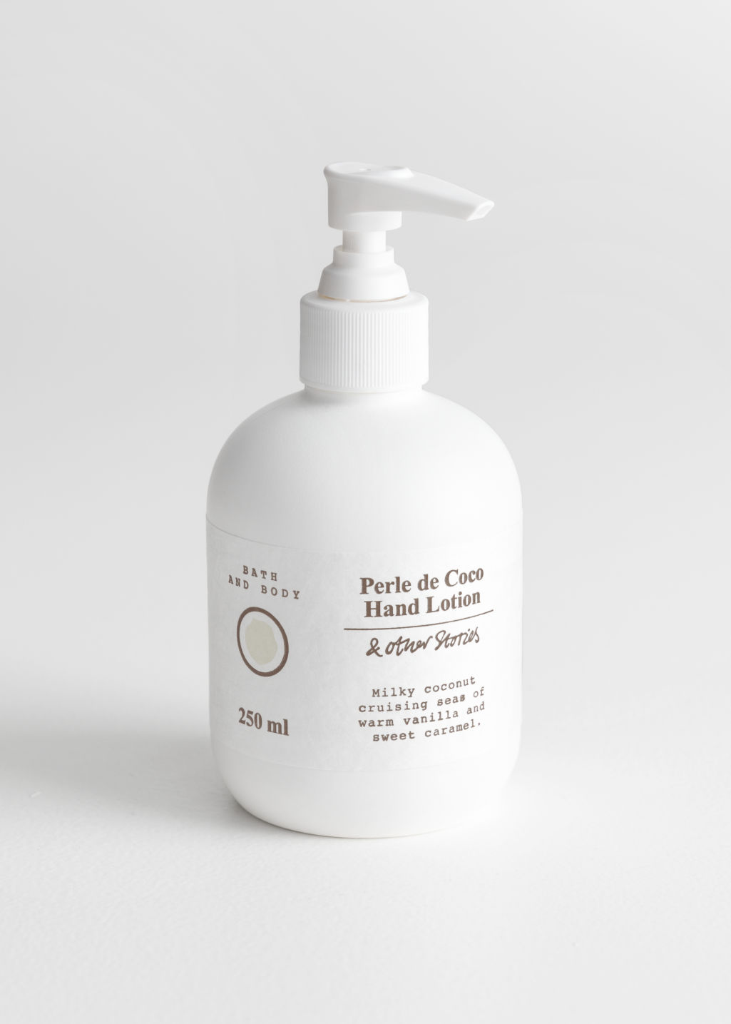 Front image of Stories hand lotion in white
