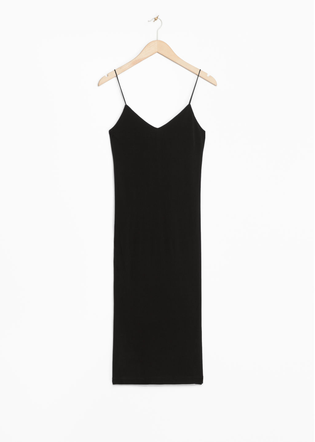 Front image of Stories spaghetti strap dress in black