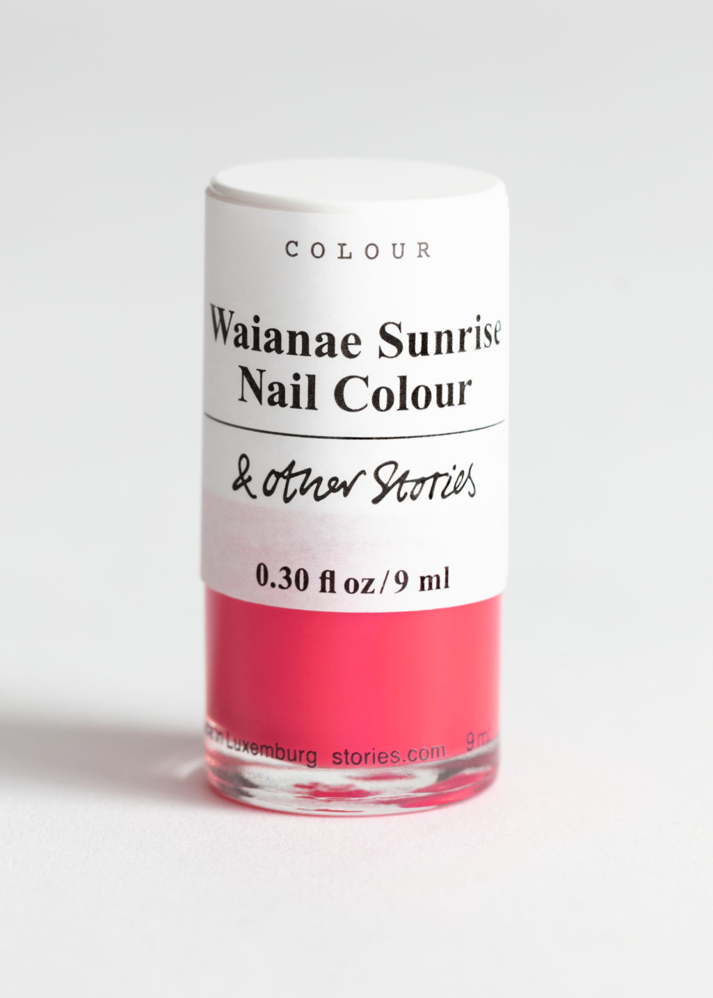 Front image of Stories nailpolish in red