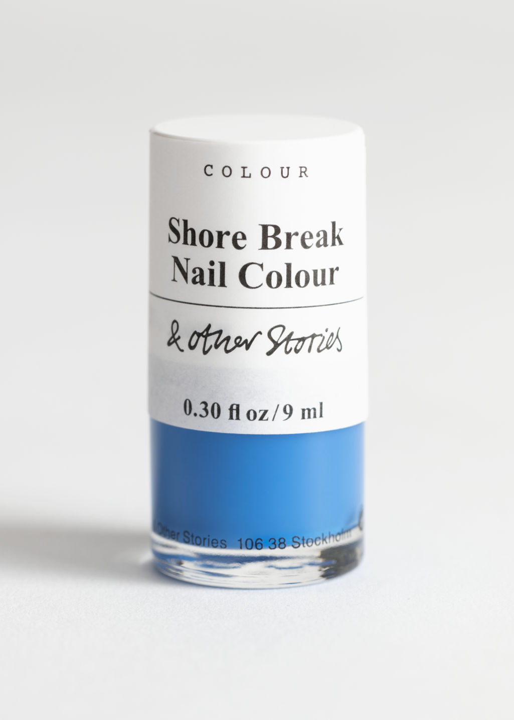 Front image of Stories nailpolish in blue
