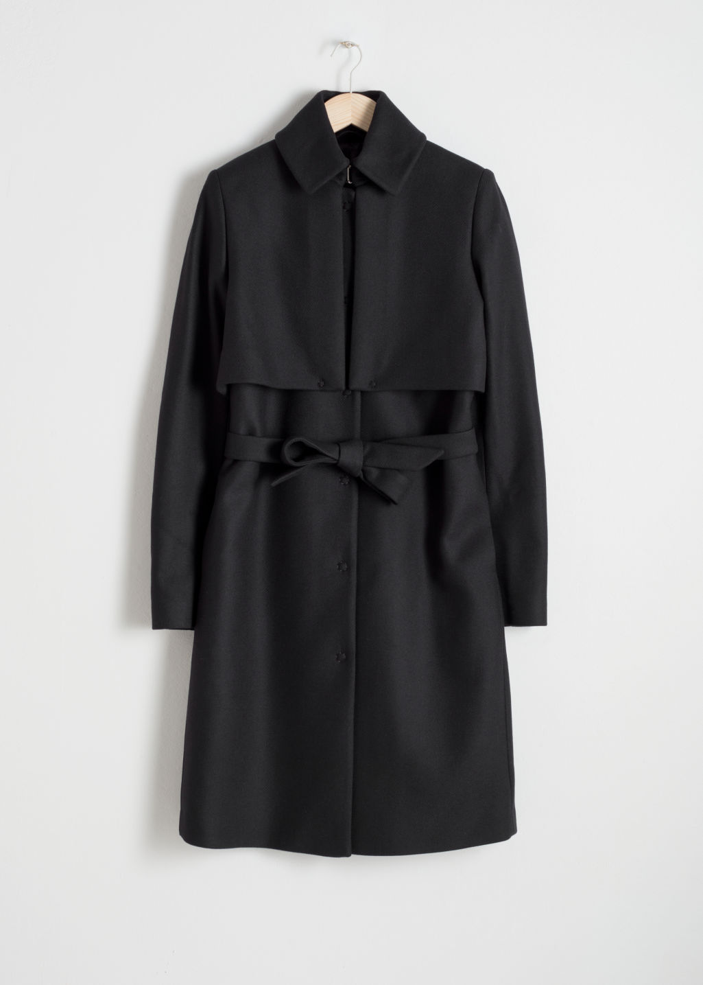 Front image of Stories wool trenchcoat in black