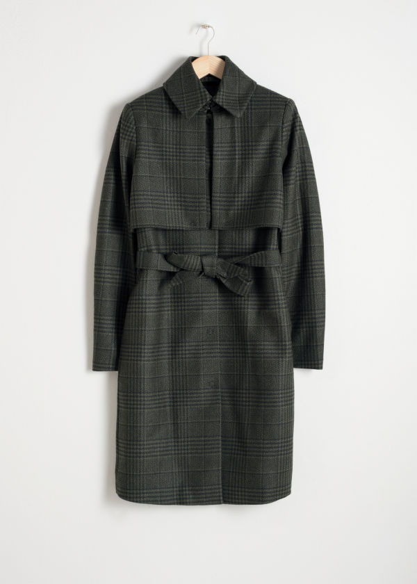 Front image of Stories wool trenchcoat in green