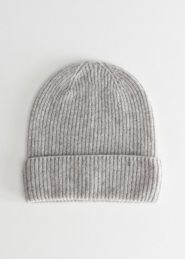 Front image of Stories cashmere beanie in grey