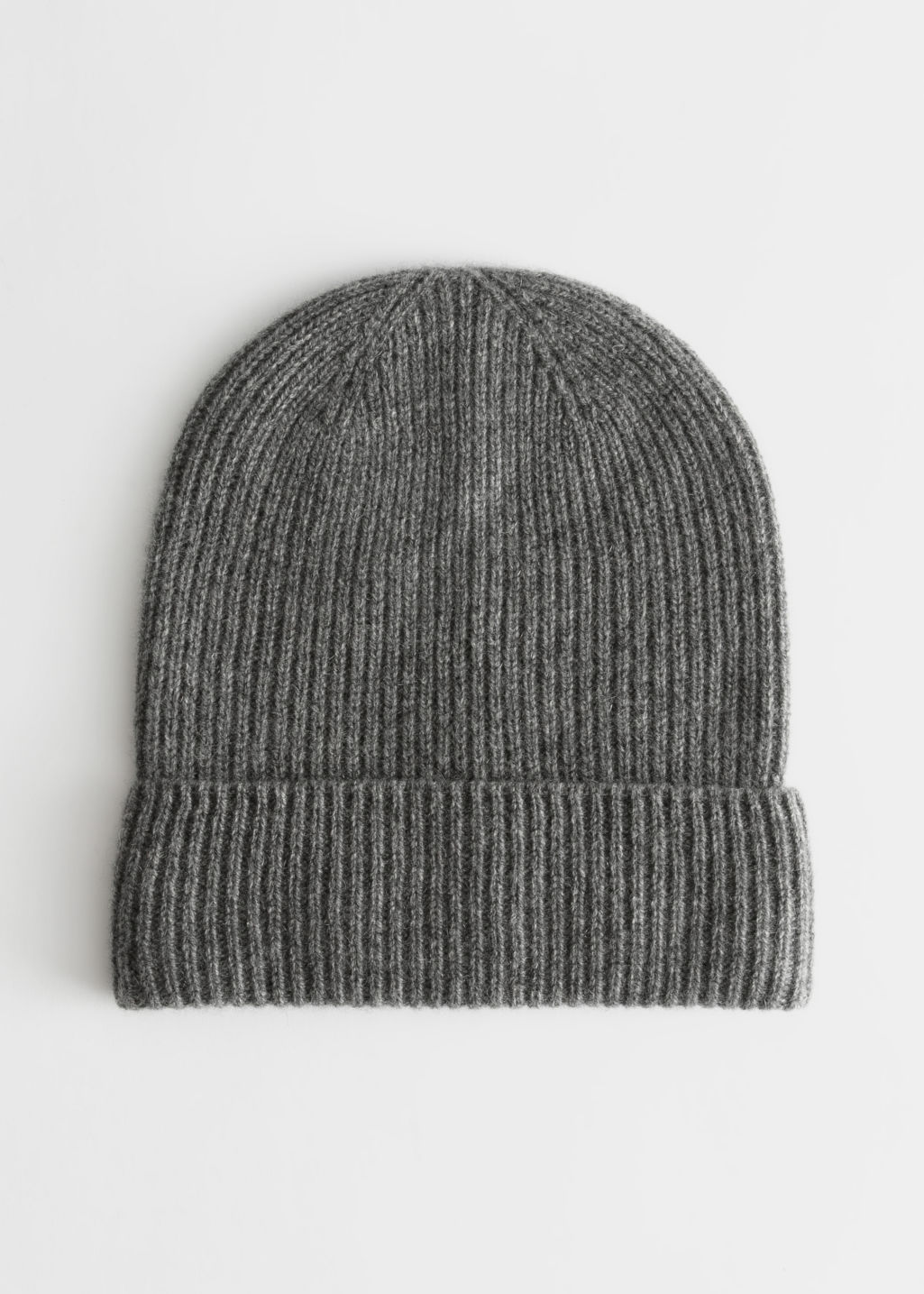 Front image of Stories soft knit beanie in grey