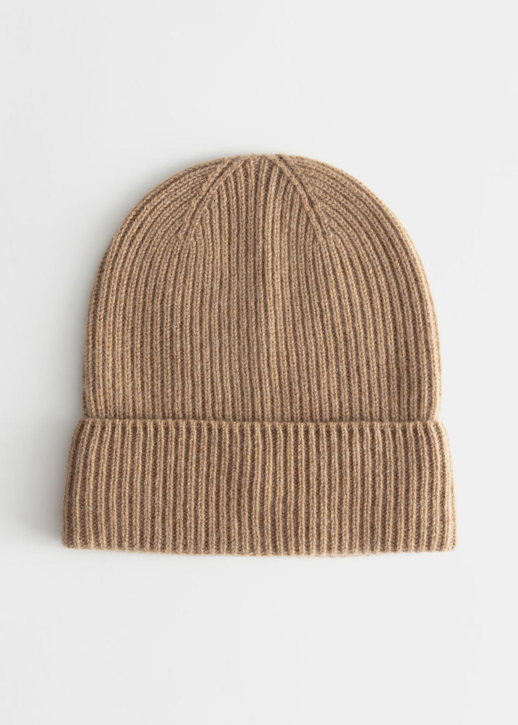 Front image of Stories soft knit beanie in beige
