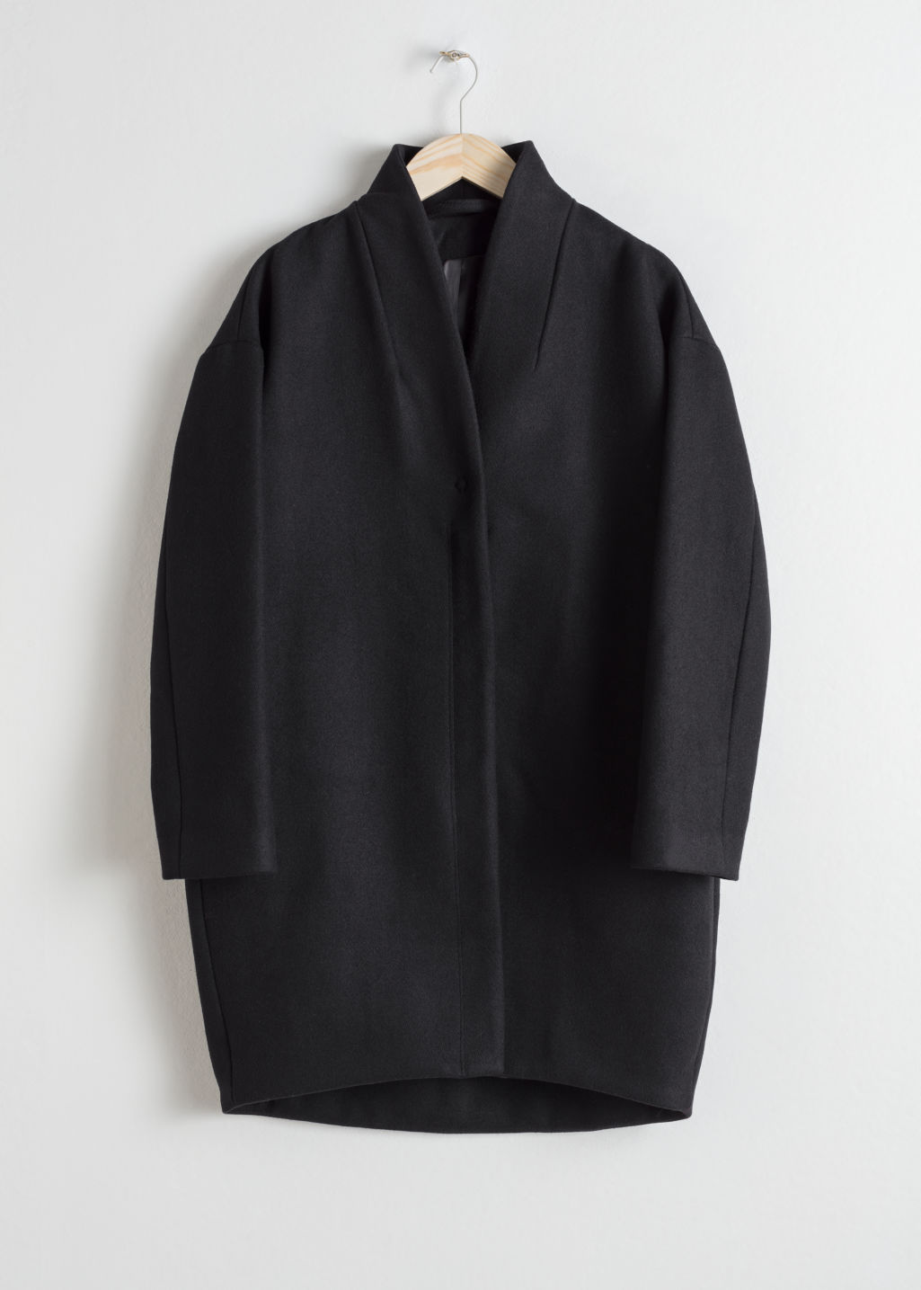 Front image of Stories wool-blend coat in black