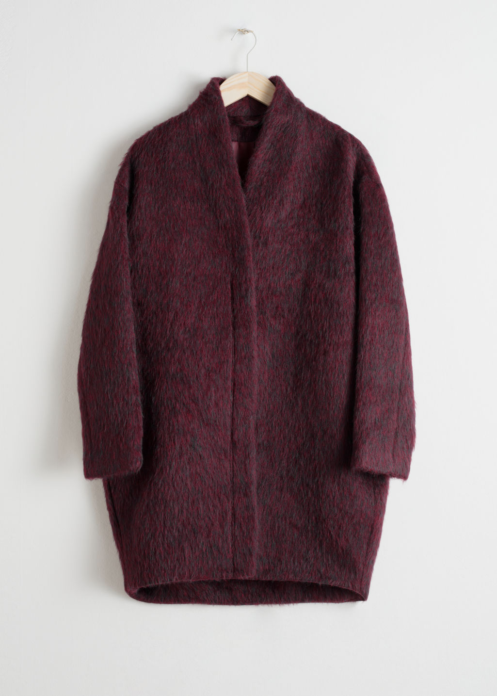 Front image of Stories wool-blend coat in red