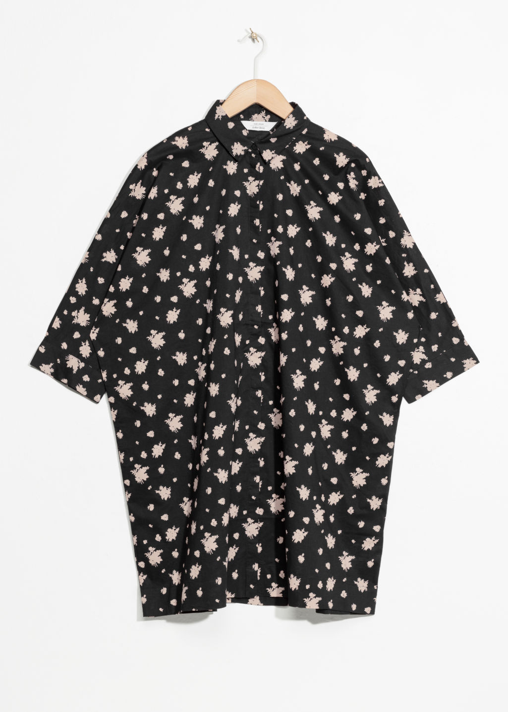 Front image of Stories cotton shirt dress in black