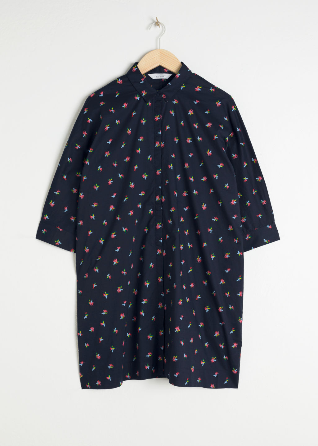 Front image of Stories cotton shirt dress in blue