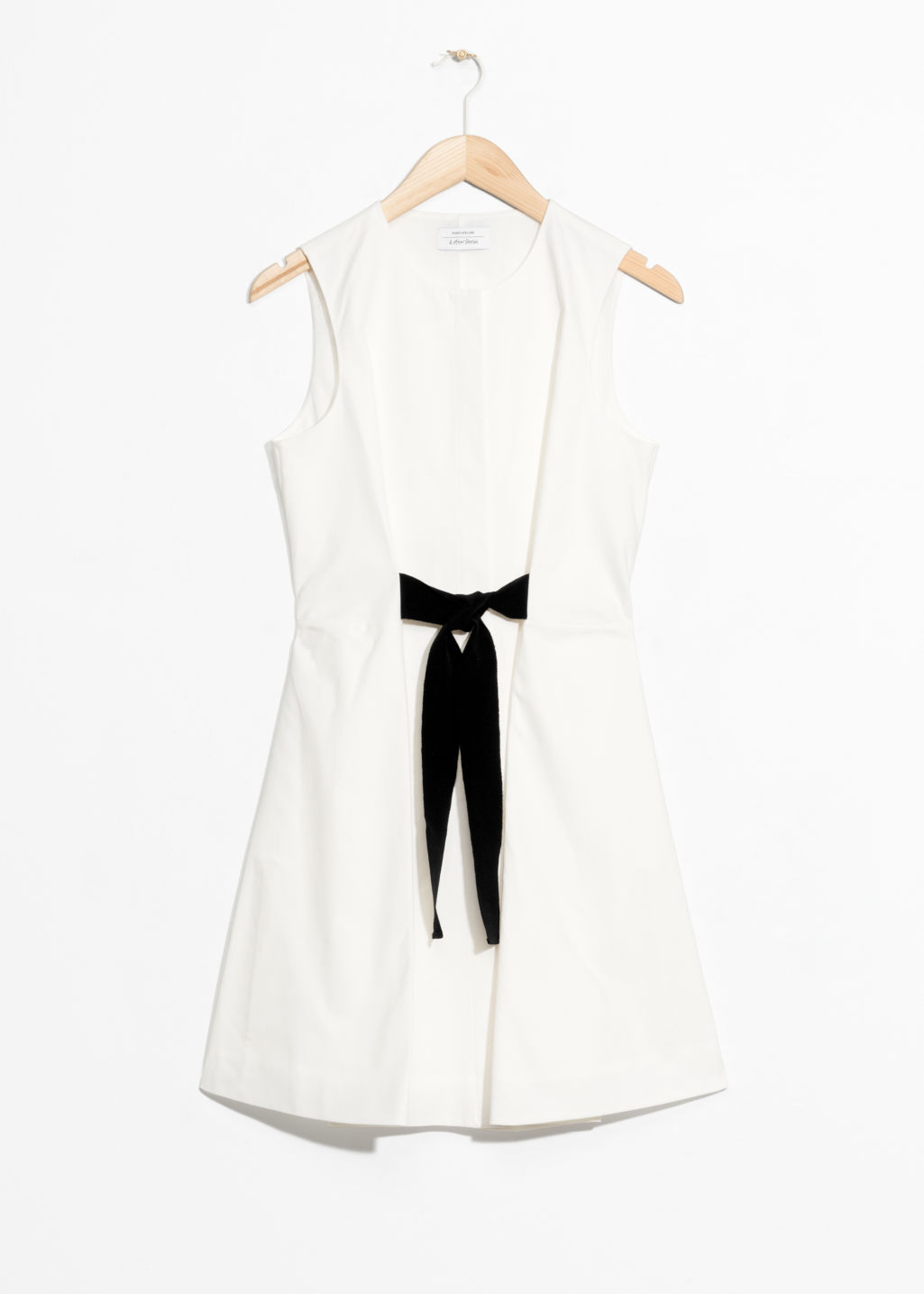 Front image of Stories a-line cotton dress in white
