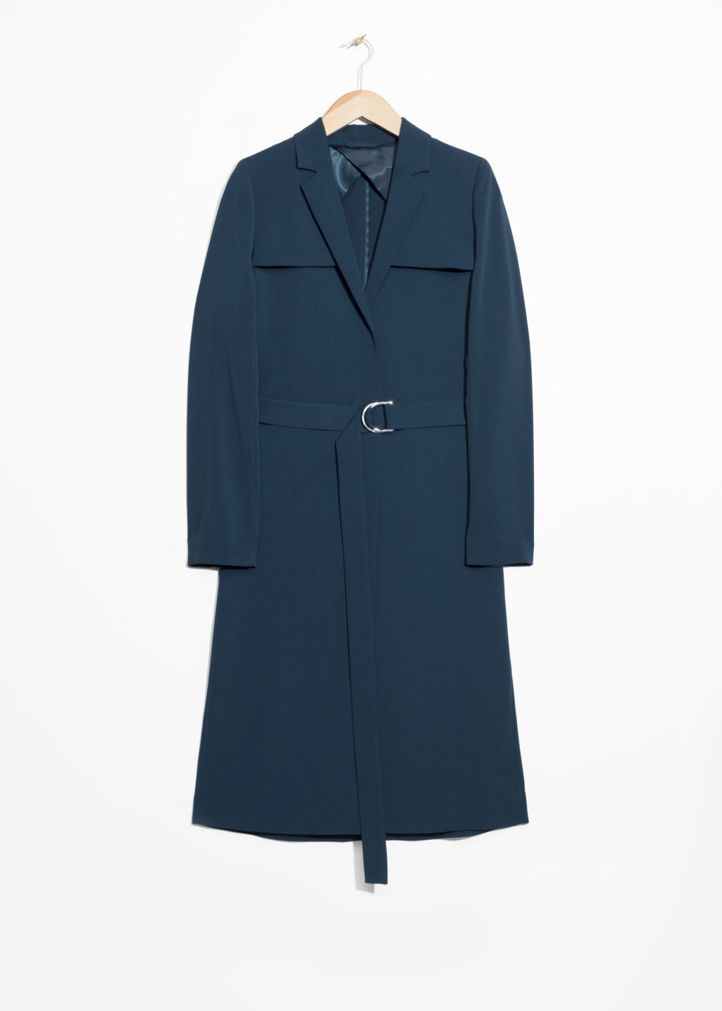 Front image of Stories trench coat in blue
