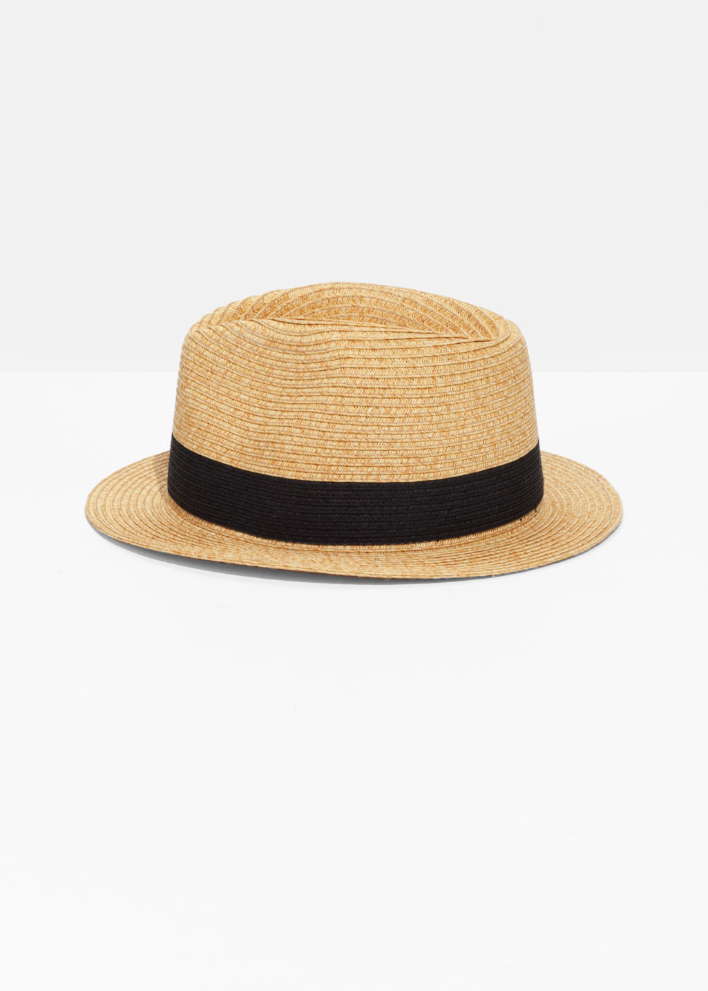 Front image of Stories straw fedora hat in beige