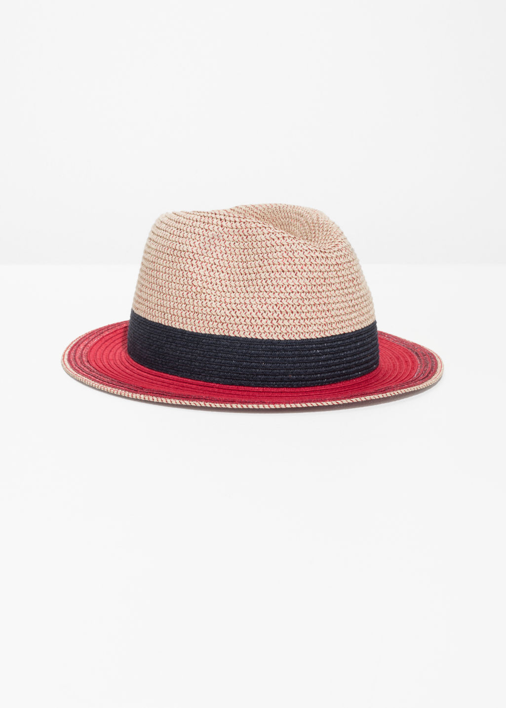 Front image of Stories straw fedora hat in red