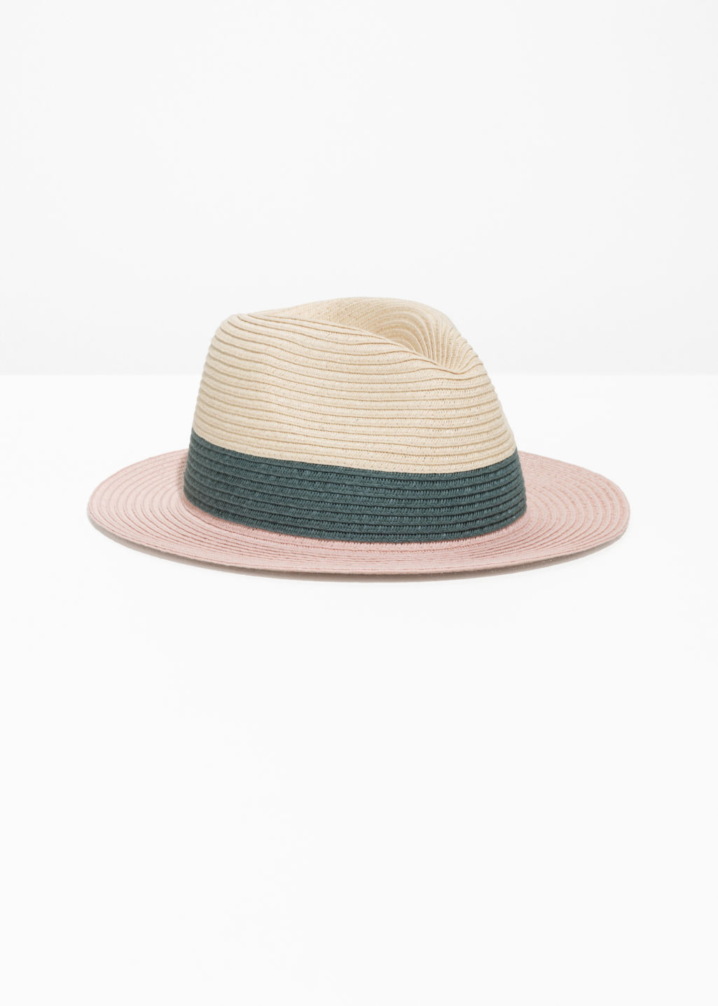 Front image of Stories straw fedora hat in pink ... 13b5d6b10f7