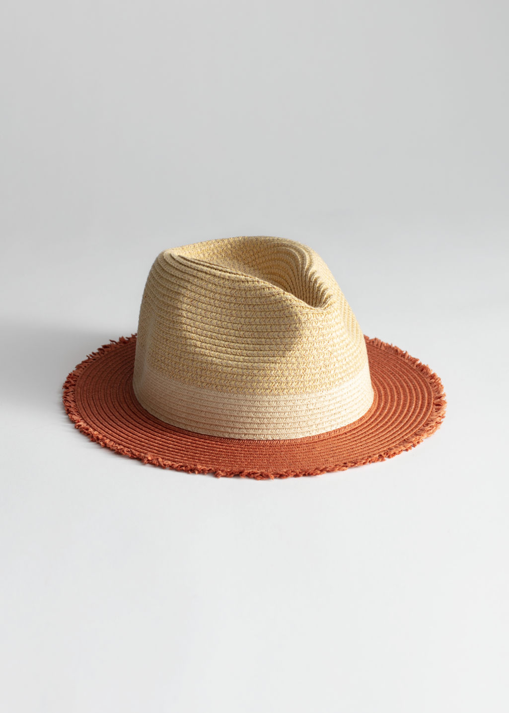 Front image of Stories straw fedora hat in yellow