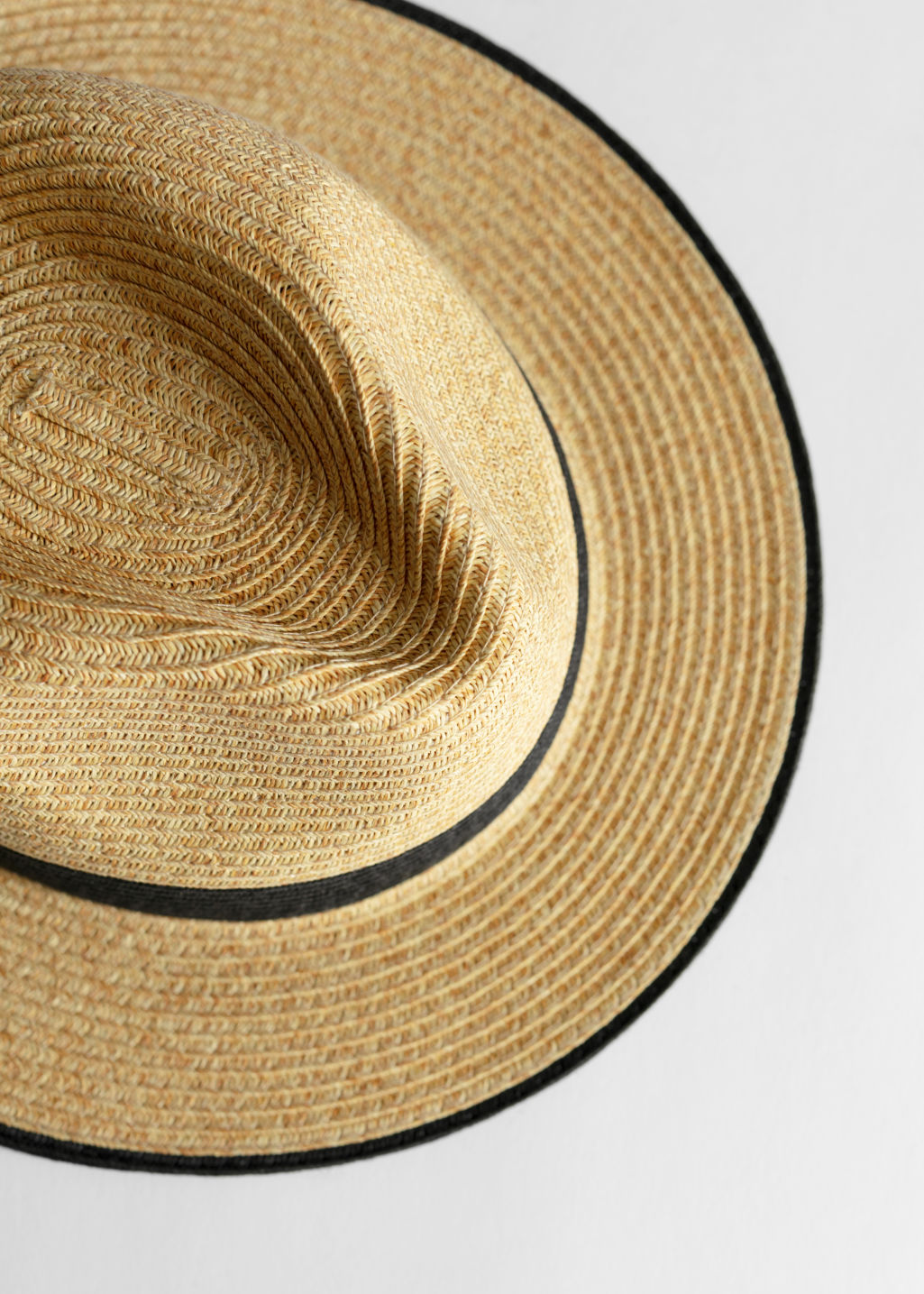 Back image of Stories straw fedora hat in beige