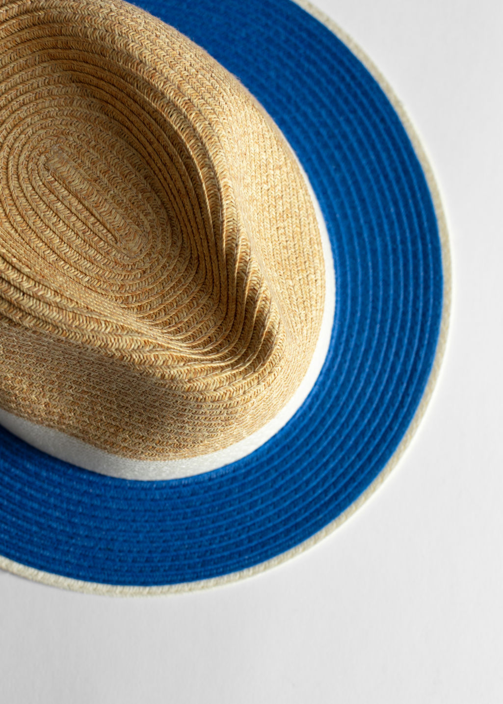 Back image of Stories straw fedora hat in blue