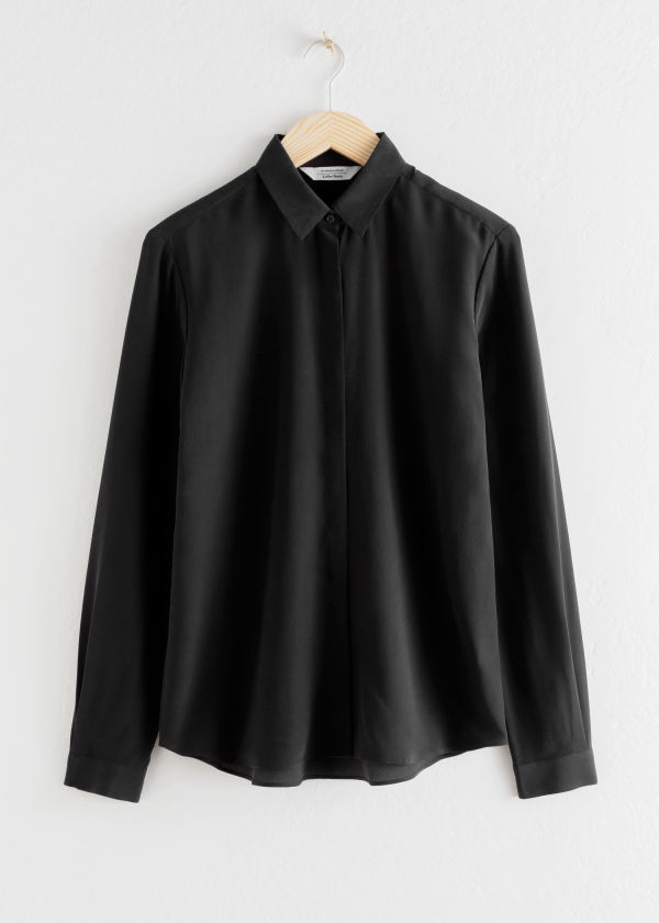 Front image of Stories straight fit silk shirt in black