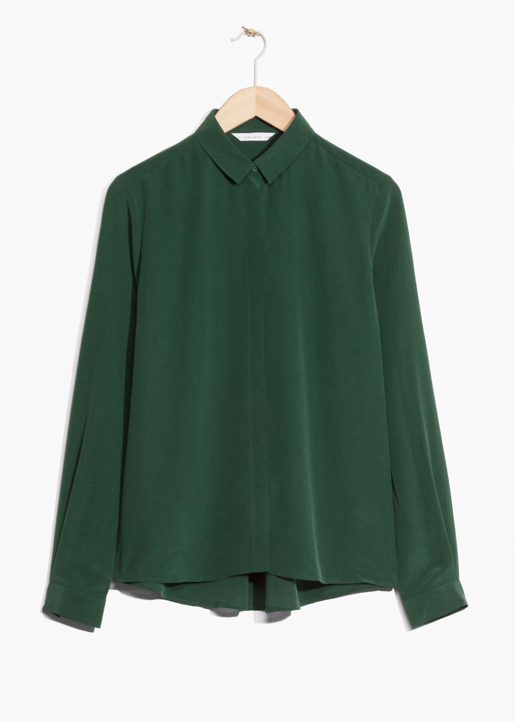 Front image of Stories straight fit silk shirt in green