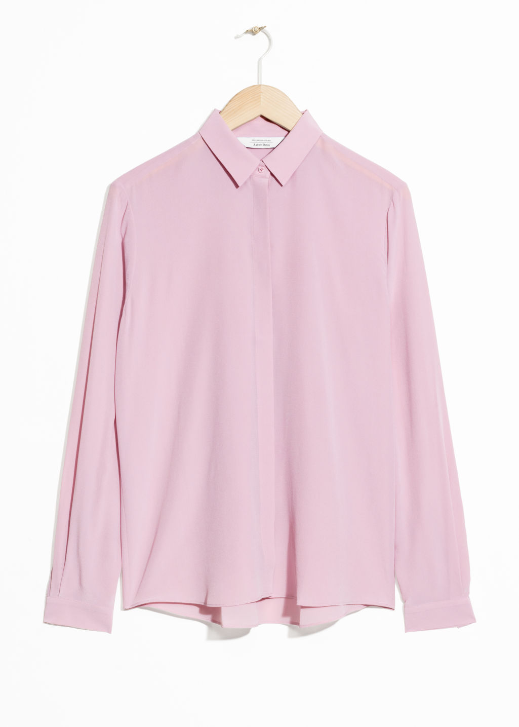Front image of Stories straight fit silk shirt in pink