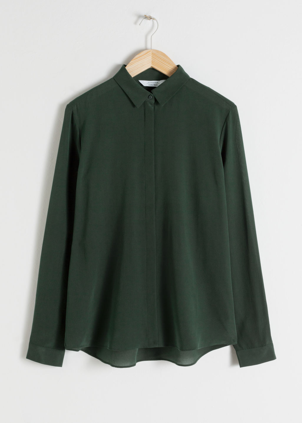 StillLife Front Image of Stories Straight Fit Silk Shirt in Green
