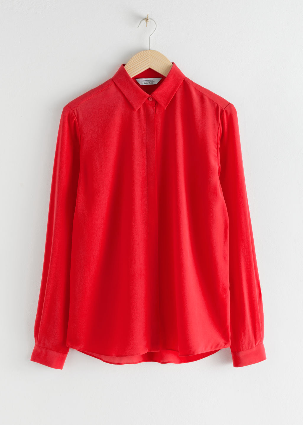 Front image of Stories straight fit silk shirt in red