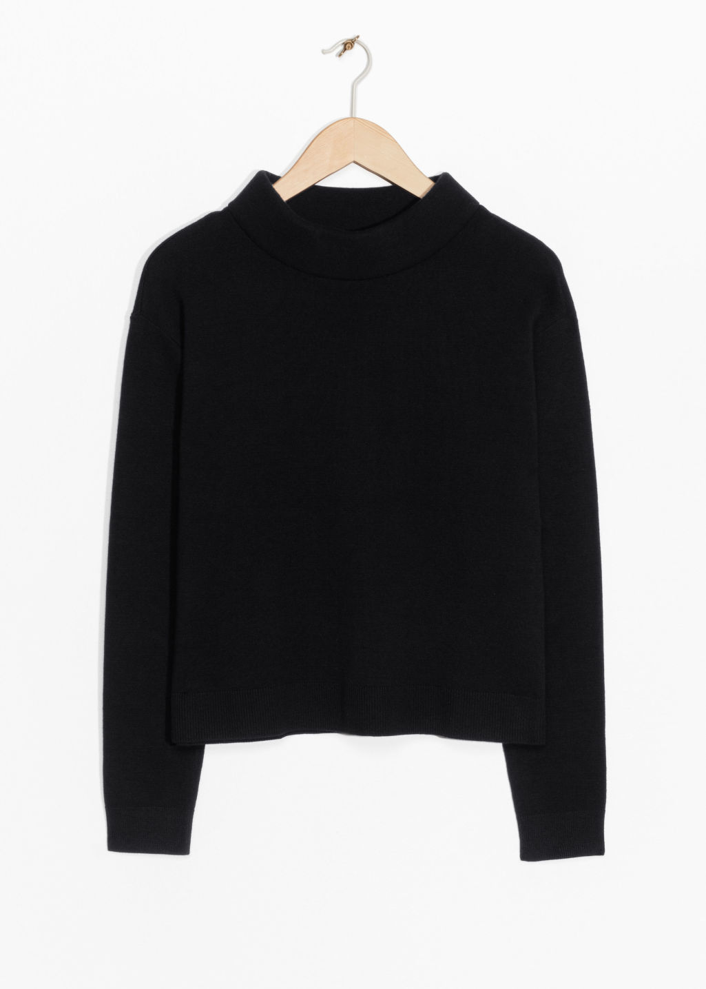 Front image of Stories wide collar sweater in black