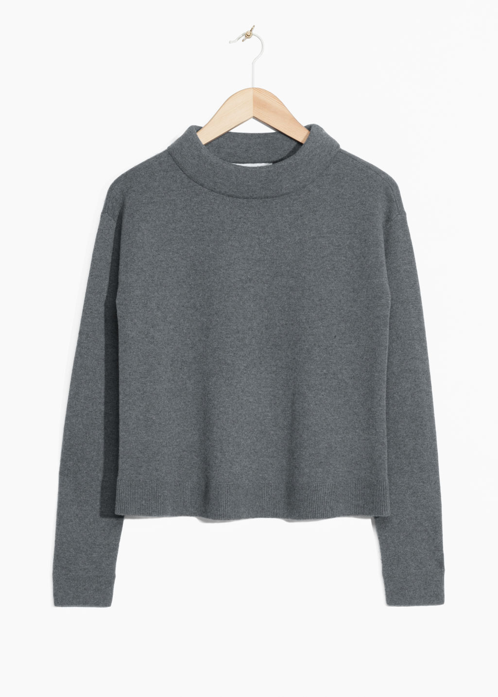 Front image of Stories wide collar sweater in grey