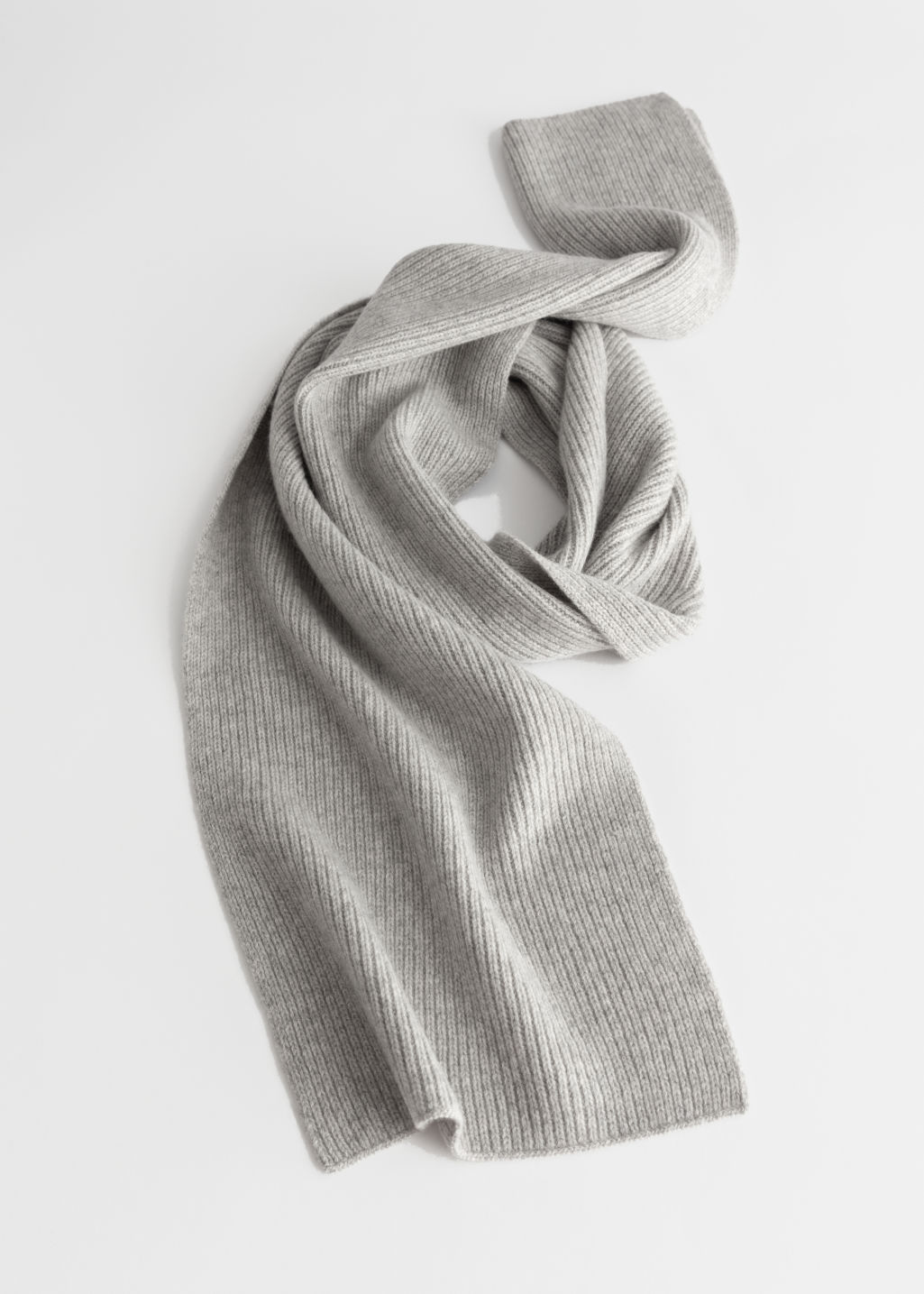 StillLife Front Image of Stories Cashmere Ribbed Knit Scarf in Grey