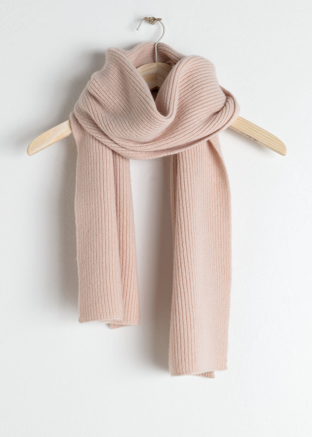 Front image of Stories ribbed cashmere scarf in orange