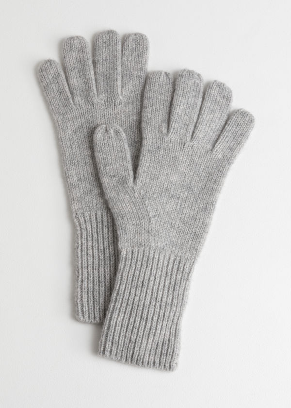 Front image of Stories cashmere gloves  in grey