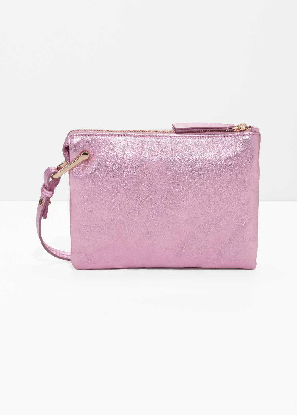 Front image of Stories d-ring crossbody bag in pink