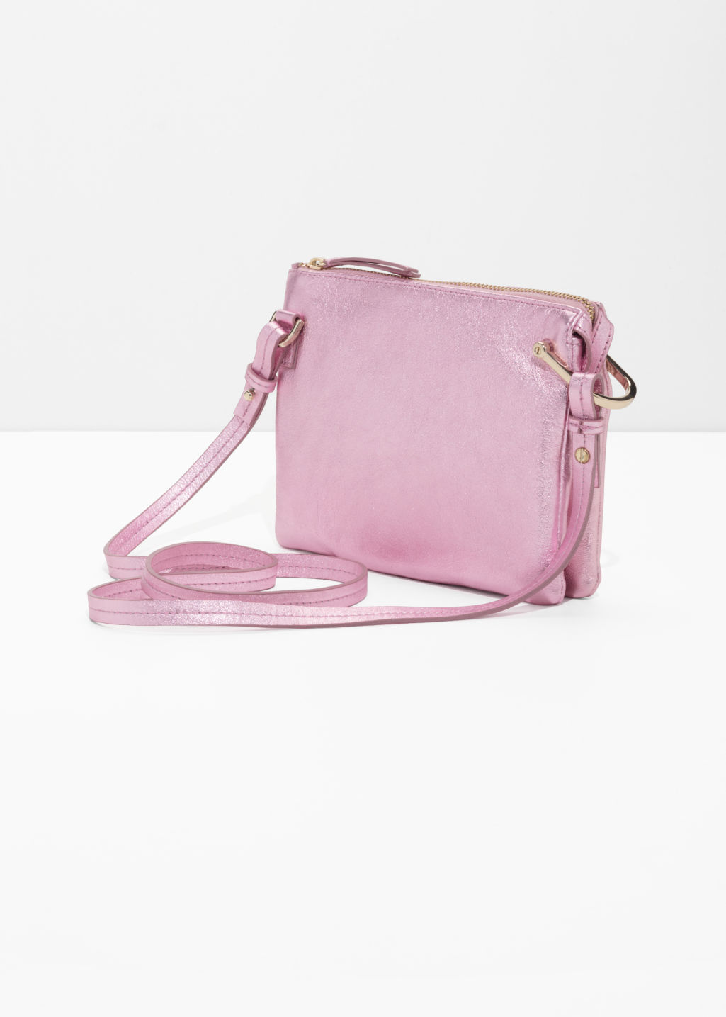 Back image of Stories d-ring crossbody bag in pink