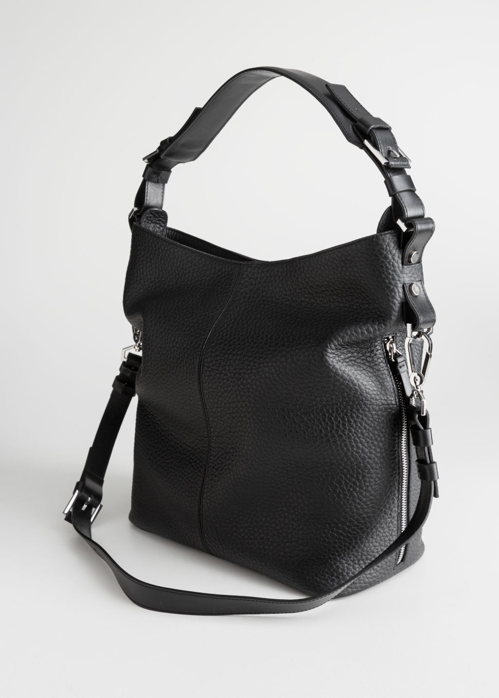 Back image of Stories grain leather hobo bag in black