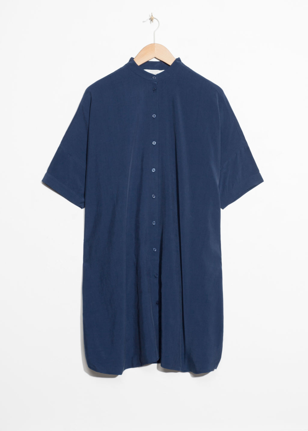 Front image of Stories oversized shirt dress in blue