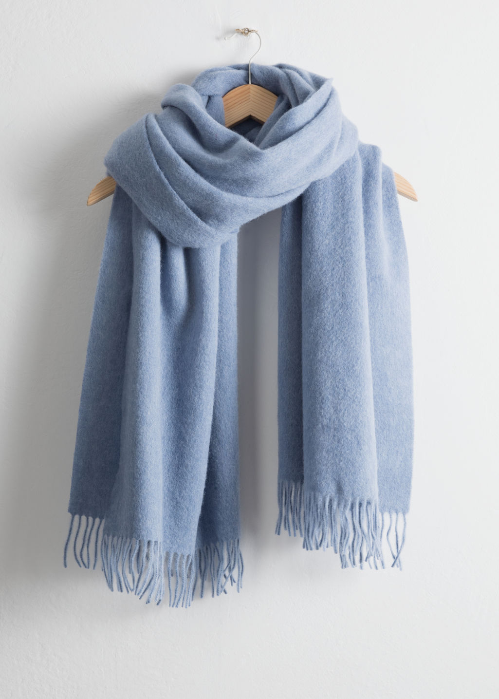 Front image of Stories oversized wool scarf in light blue