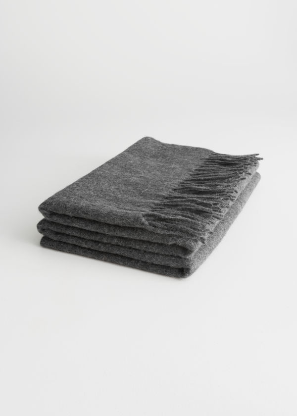 Front image of Stories oversized wool scarf in grey