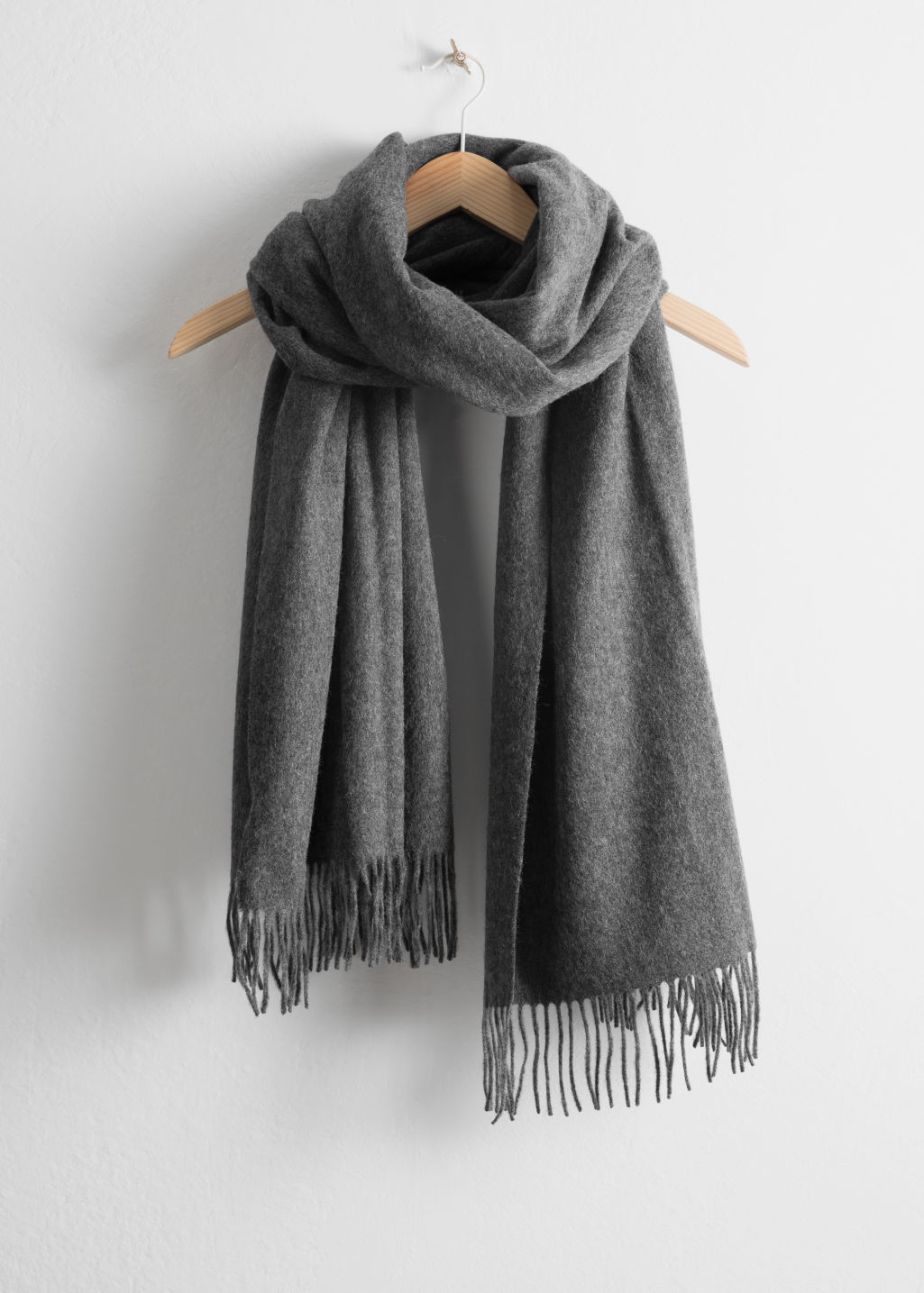 Back image of Stories oversized wool scarf in grey