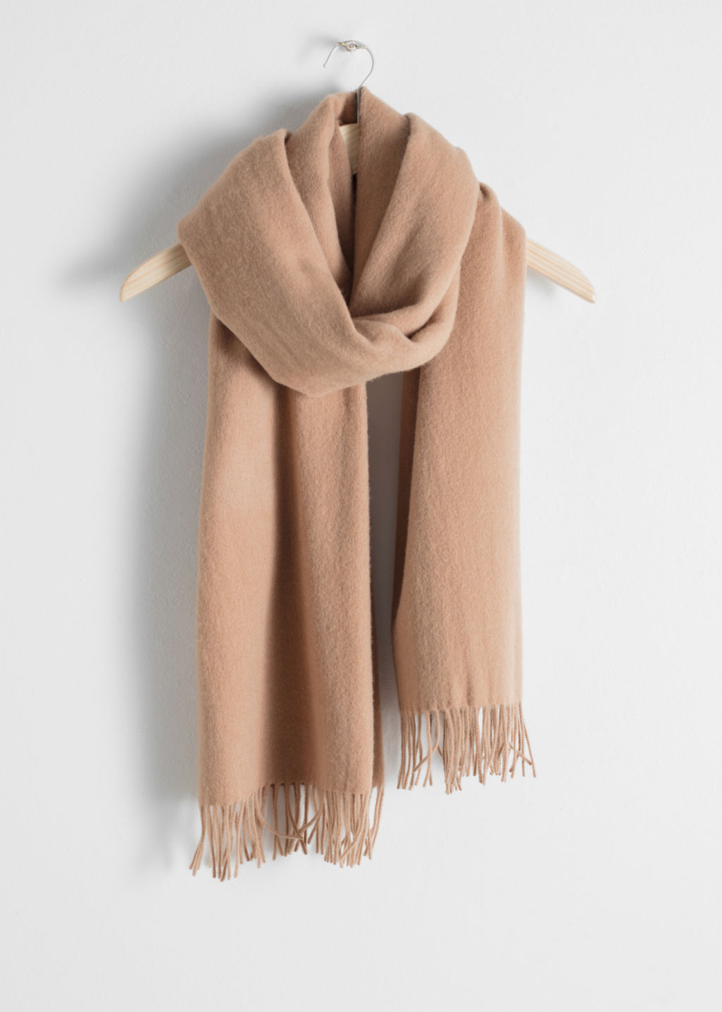 Front image of Stories oversized wool scarf in beige