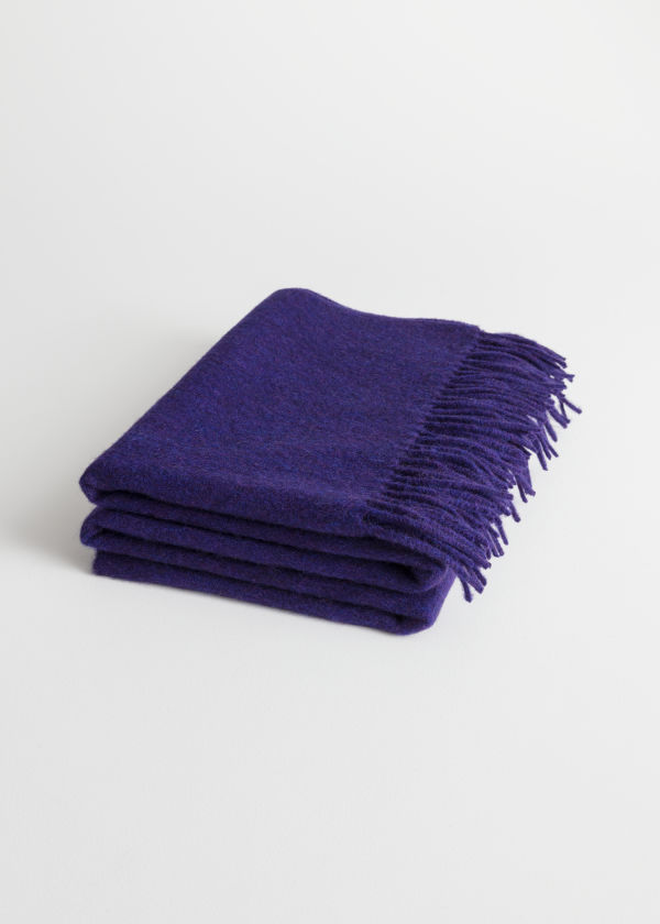 Front image of Stories oversized wool scarf in purple