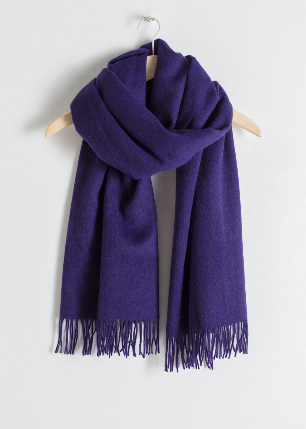 Back image of Stories oversized wool scarf in purple